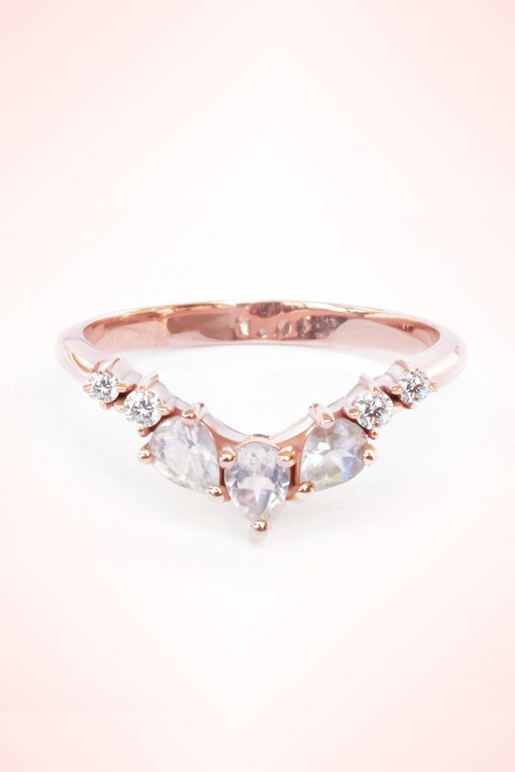 Rose Gold Victorian Engagement Ring Vintage Teardrop Wedding