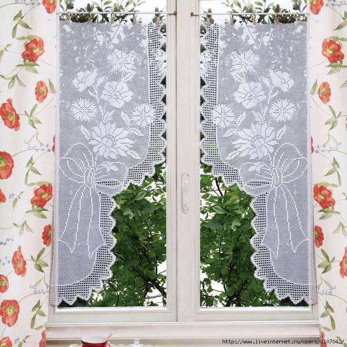 les 109 meilleures images du tableau rideaux crochet sur pinterest rideaux crochet crochet. Black Bedroom Furniture Sets. Home Design Ideas