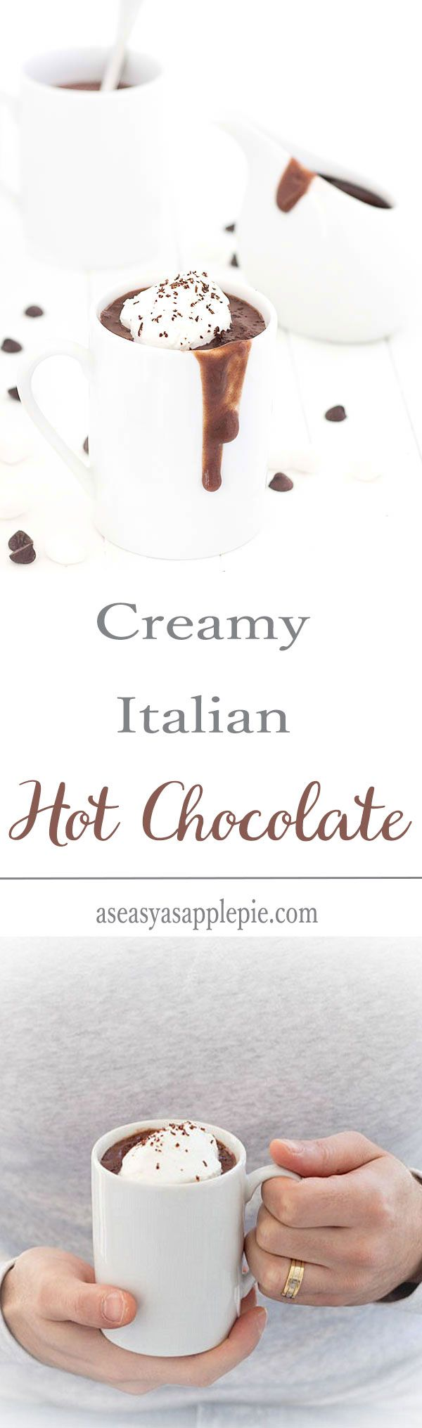 Have you ever tried Italian hot chocolate? It's the best hot chocolate in the word! Thick, creamy, decadent, rich...and only 116 calories!
