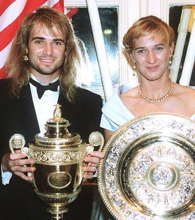 Andre Agassi & Steffi Graf - 1992 Wimbledon Champions Ball. At the time, no one could predict that they'd marry each other 9 years later.