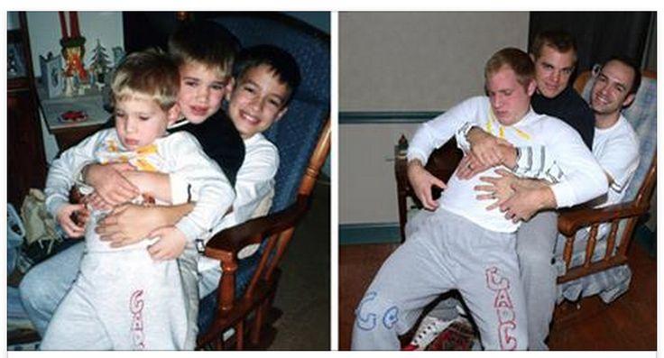 Quelle idée excellente! Ces trois frères ont eu la bonne idée de recréer leurs photos d'enfance un peu embarrassantes afin de les offrir à leur mère sous forme d'un...