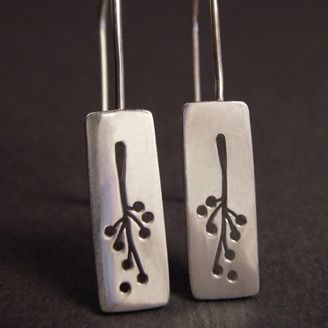 Silver earrings by Heather Matwe (Vancouver, BC). Member of the Alberta Craft Council