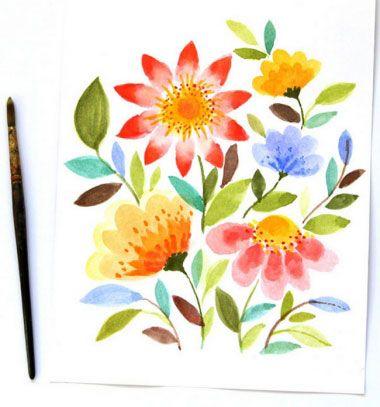 ❤ Tavaszi virágos kép vízfestékkel lépésről lépésre ❤Mindy -  kreatív ötletek és dekorációk minden napra