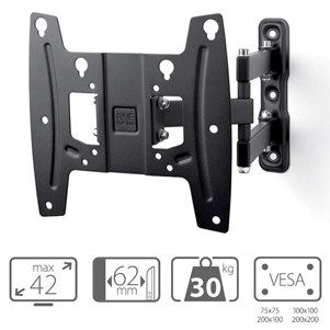 "one for all wm4250 support tv mural orientable jusqu'à 42"" - support mural, prix pas cher - Cdiscount"