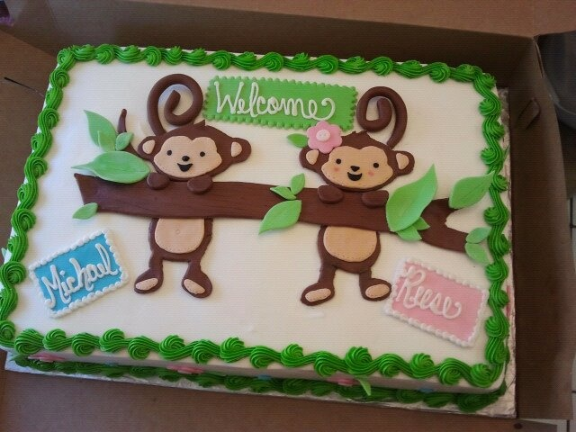 Twin baby shower monkey jungle theme cake creations for Baby shower decoration ideas for twin boys