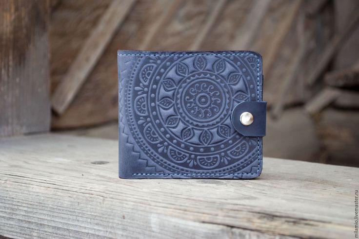 Купить Кошелек кожаный темно-синий с тиснением Этно - портмоне, портмоне мужское кожа