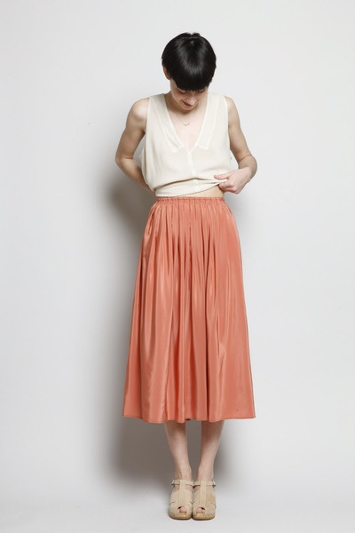 no.6 skirt. I like the length of the skirt. Also the neutral colored top.