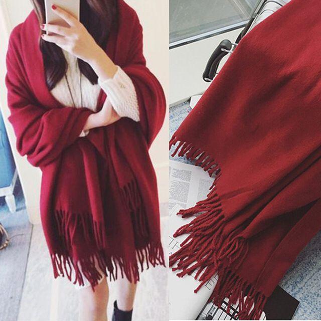 Las Mujeres de la bufanda 230*80 cm Bufanda de Cachemira Caliente Del Invierno Grande Pure Pashmina Chal de Color Rojo Vino De La Vendimia Otoño Invierno elegantes Bufandas
