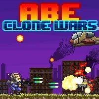 Abe Clone Wars - Play Abe Clone Wars game online. (Assault, robot, droid, troops, arcade, pixel, Action, shoot 'em up, Platforms, helicopter, gun, top clone games, best wars game).
