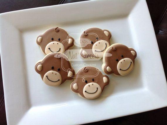 2 dozen baby monkey cookies by NatSweetsCookies on Etsy