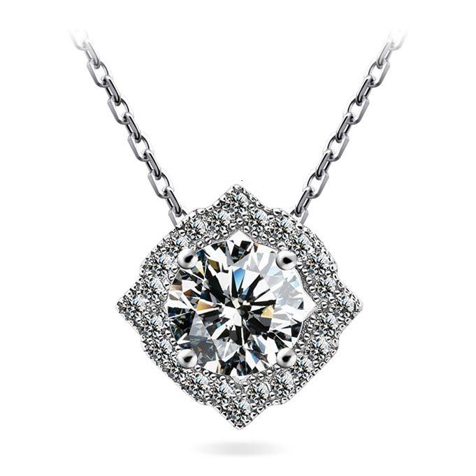 2015 китай ювелирные изделия AAA циркон ожерелье оптовая продажа мода ювелирные изделия серебряное ожерелье с 1 карат CZ ювелирные изделия с бриллиантами для свадьбы