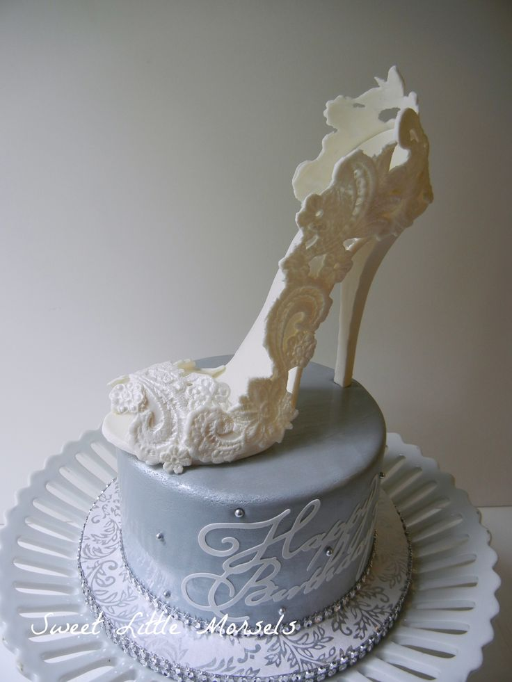 - Birthday cake I did for a friend, who LOVES shoes. I used a high heal shoe cake to do the heel and used a lace mold to make the design on the shoe. The whole shoe is made out of gumpaste.