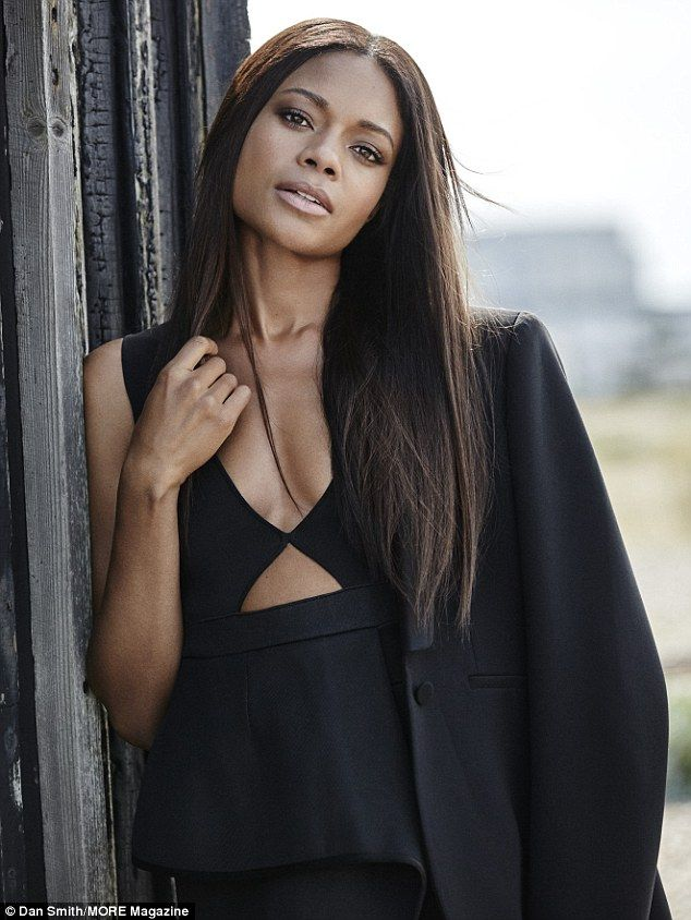 Brunette beauty: Naomie Harris scintillated in her photoshoot for her feature in MORE maga...