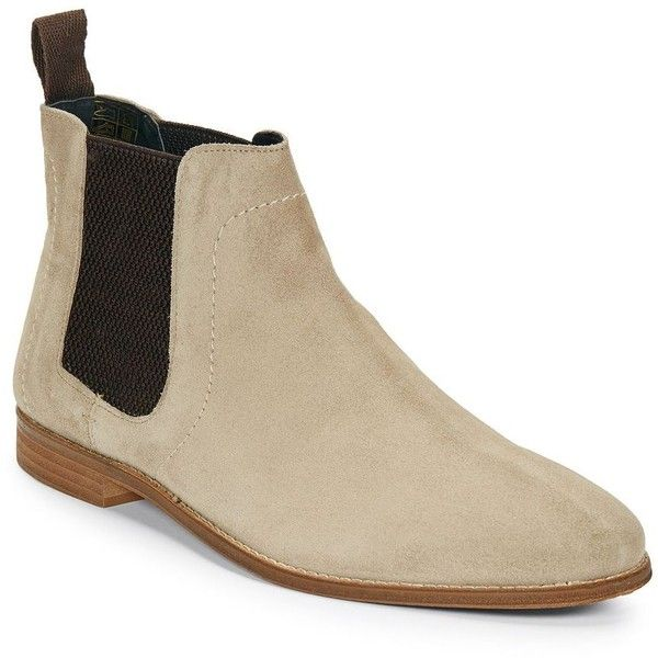 Ben Sherman Gaston Chelsea Boots ($69) ❤ liked on Polyvore featuring men's fashion, men's shoes, men's boots, taupe, mens suede slip on shoes, mens slip on boots, men's pull on boots, mens slip on shoes and mens suede shoes