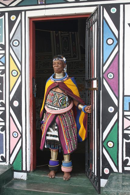 South Africa | Internationally acclaimed Ndebele artist, Esther Mahlangu, at her home in KwaNdebele. | ©South African Tourism