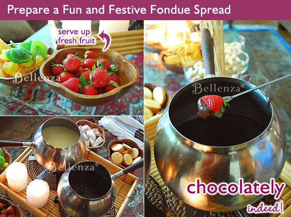 Serving suggestions for a fondue party - fresh fruit bites in melted cheese and chocolate sauce dips