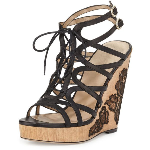 Valentino Wooden Lace-Wedge Sandal ($643) found on Polyvore featuring shoes, sandals, red, wooden platform sandals, strappy sandals, red wedge shoes, red sandals and ankle strap wedge sandals