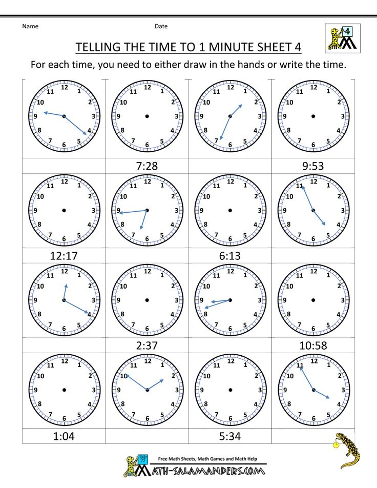 printable time worksheets telling the time to 1 min 4