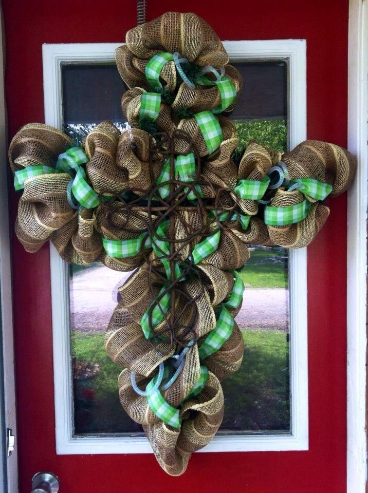 Cross Shaped Burlap Deco Mesh Wreath Craft Ideas