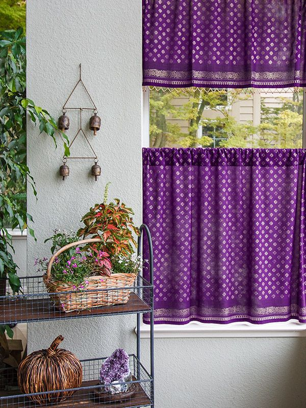 Dark Purple Kitchen Curtain, Plum Purple and Gold Tier Curtains, Sari India Sheer Curtain Panels