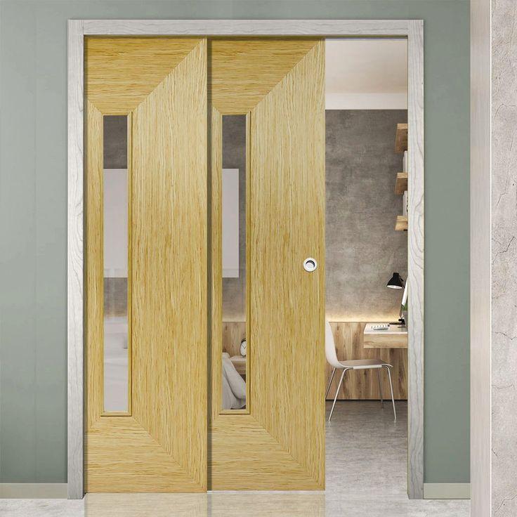 Twin Telescopic Pocket Triumph Oak Veneer Doors - Clear Glass - Prefinished.      #pocketdoor  #interiordesign  #oakdoor  #telescopicdoors
