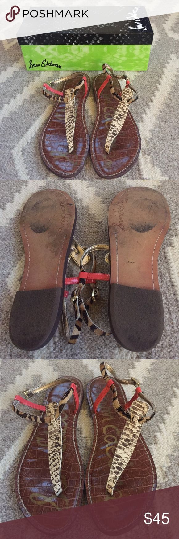 Sam Edelman Gigi Sandals Super cute snakeskin and leopard calf hair thong sandals. Some wear on the soles but overall in very good condition! Comes with shoebox. Sam Edelman Shoes Sandals