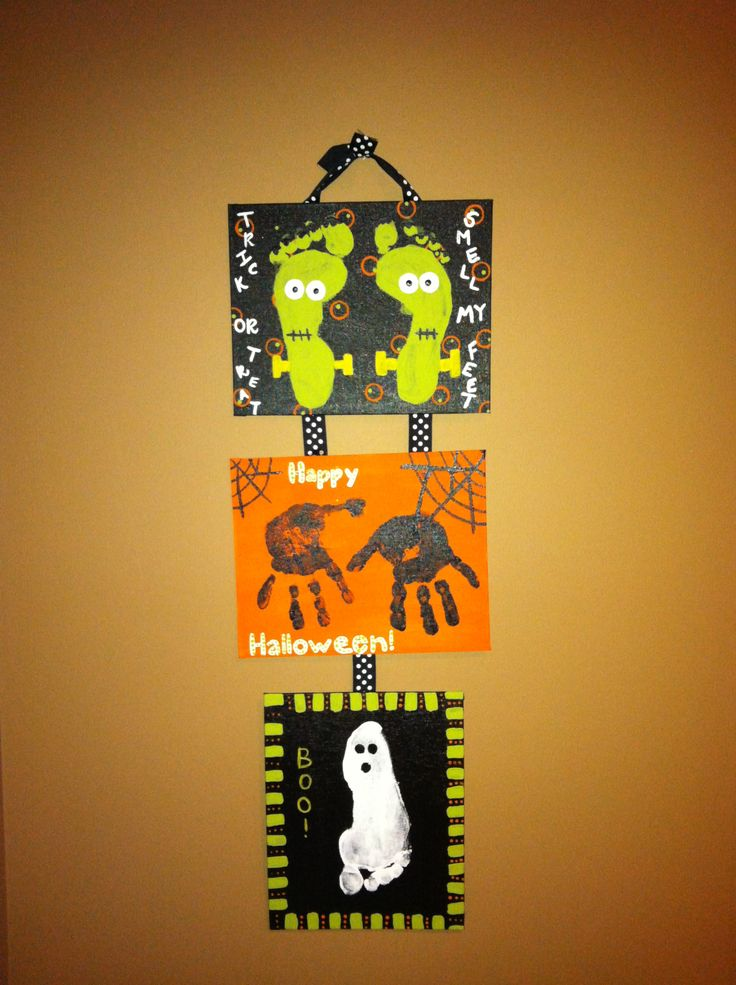 Footprint & Handprint Halloween Craft! Did the foot ghosts last year and all the parents LOVED them..... Good to start as a baby, then 1, then 2.... Have other teachers on board..... 10-18-13 I did this with 2 year olds. Parents loved it. (I did all 3 for each child. Lots if fun)