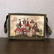 """Handtassen en accessoires.  Fair of Masters - handgemaakte schoonheidsspecialist """"Glorieuze stad - 2"""" Japans patchwork.  Met de hand gemaakt."""