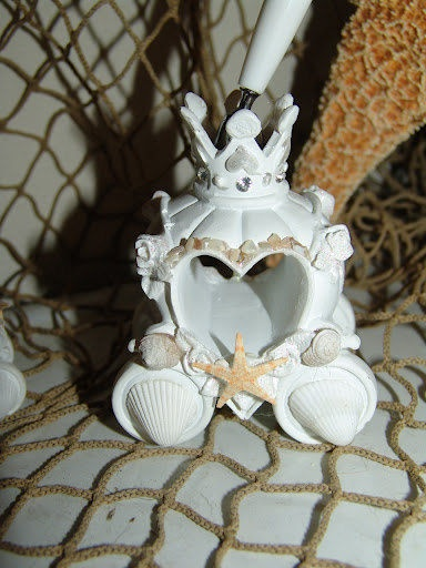 Fairy Tale Cinderella Wedding Set with Knife and Server Cake Set, and Pen and Holder Beach Style with Natural Starfish, and Baby Shells - product images  of