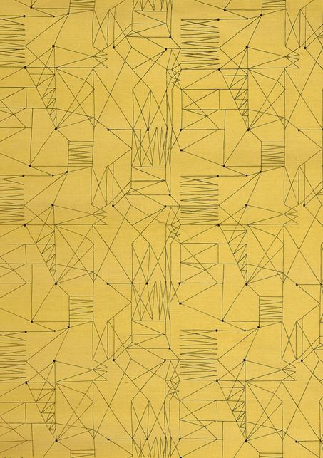 """Graphica"" is a furnishing fabric sample from British textile design maven Lucienne Day for Heal's. 1954, from The Fifties."
