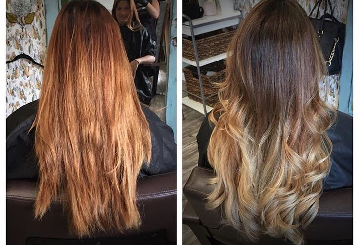 Before and after .. Brassy to balayage