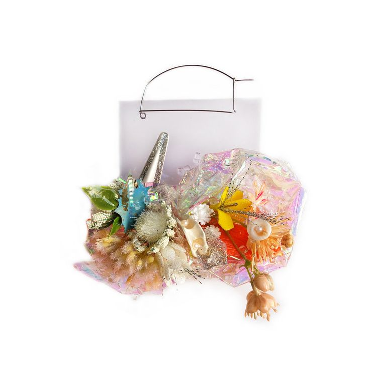 """corsageIV. brooch - """"With the use of these everyday materials, I am able to exaggerate the size and abundance of gemstones to parody or poke fun at the socio-economic issues of class systems physically made manifest in the wearing of fine jewelry."""" — Nikki Couppee"""