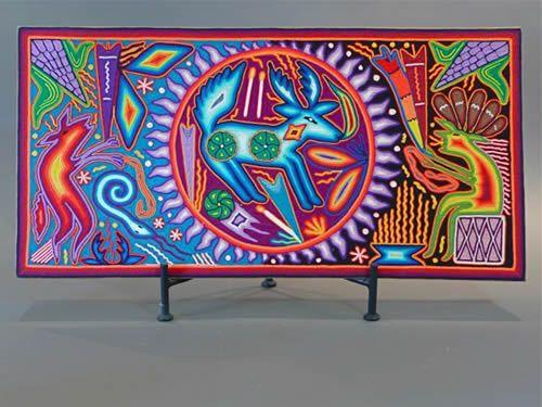 Mexican Folk art (Huichol) The Sacrifice, Galleria Atotonilco.  Artists:  Maximino Hdez  and his wife Karina Carillo.