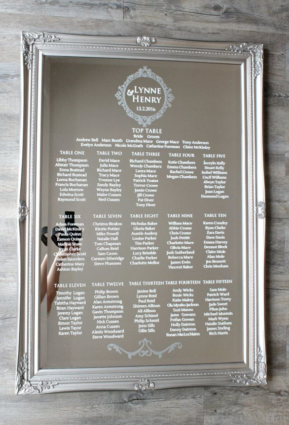 Mirror Wedding Table Plan DIY Modern Luxury by LoveStoreyWeddings