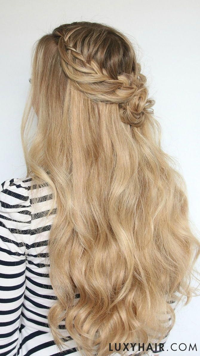 beautiful waterfall braid with rose accent using luxy hair