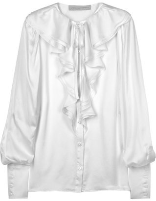 ShopStyle: Stella McCartney Ruffled silk-charmeuse blouse
