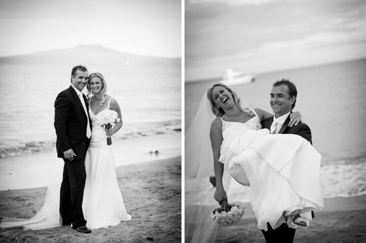 Bride and groom after their wedding at home at Milford beach, Auckland. Black and White.  beguiling fine art family photographs for the walls of the most discerning clients homes. We specialise in wedding and family portrait photography, and supply prints on the highest quality media, framed in beautiful conservation standard frames. We are a high end studio located in the beautiful city of Auckland, New Zealand.