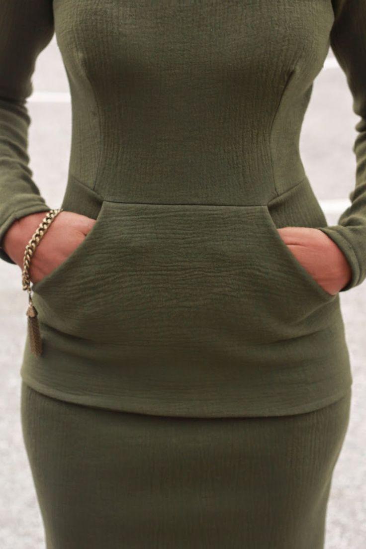 Handwarmer pocket added to dress | DIY Neoprene dress and sleeveless coat