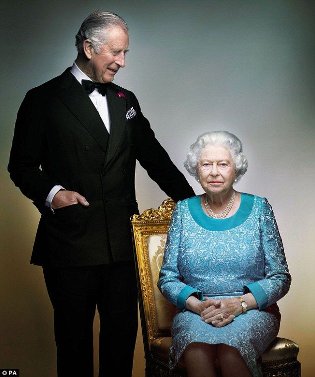 This new Royal portrait shows a tender mother-son moment between the Queen and Prince Char...