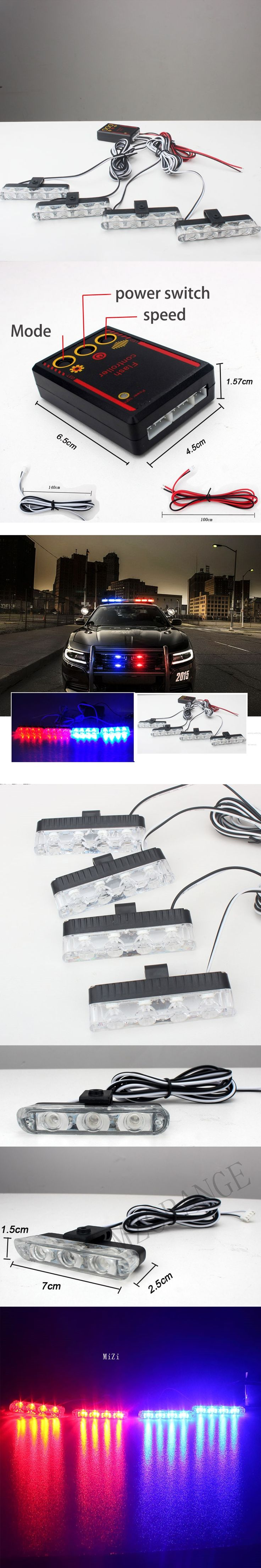 4x4LED DC 12V Strobe Warning light Police light Car Truck Light Flashing Firemen Lights Ambulance White Yellow Red Blue