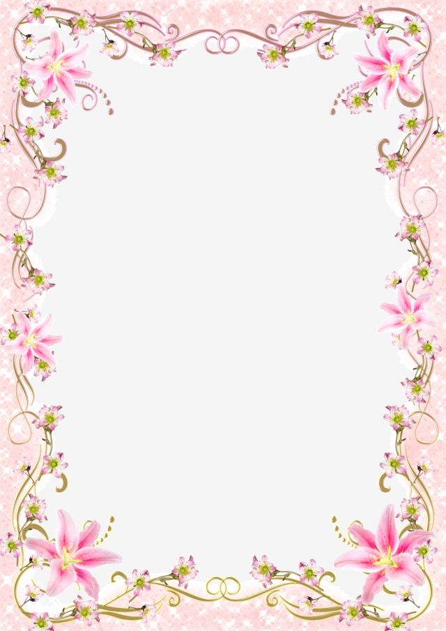 Floral Border Frame Romantic Pink Line Pink Floral Background
