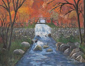 Painting - Waterfall And Nature by Reb Frost