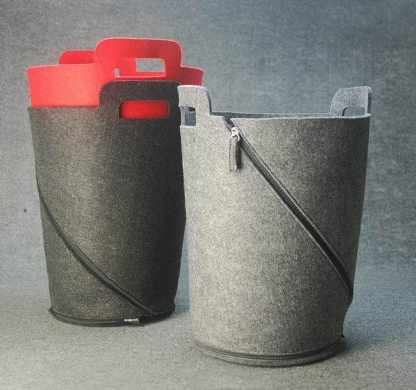 Felt Storage Container Organizer Bin Basket Foldable with Zipper-Black Grey Red-E926