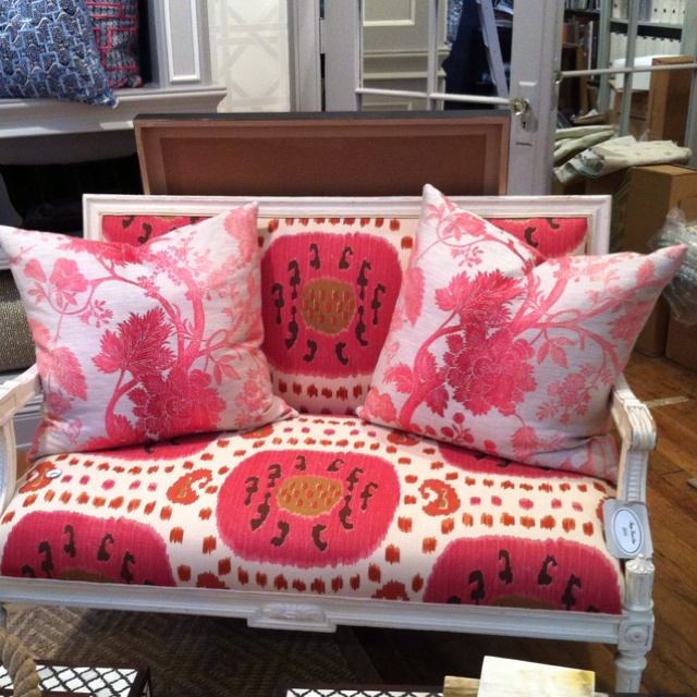 At Great Jones in Seattle. So cute.Pink Lounges, Colors Pink, Interiors Pretty, Pattern Mixed, Pillows Pattern, Miscellaneous Inspiration, Amazing Upholstery, Sofas, Design Furniture
