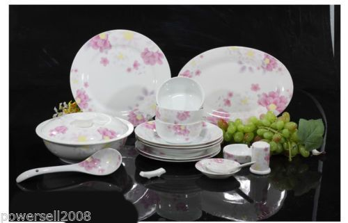 European-Ceramic-Household-Gifts-56-Pieces-White-Pink-Flowers-Tableware-Set