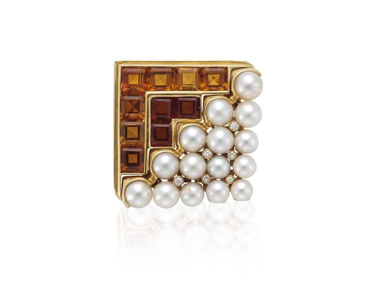 Bulgari Citrine, Cultured Pearl And Diamond Brooch