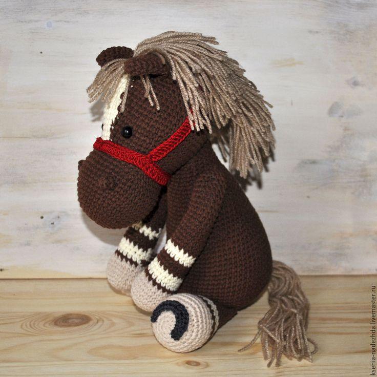 Купить Коричневая Лошадка Вязаная крючком игрушка - вязаная игрушка, игрушка для ребенка, вязаные животные