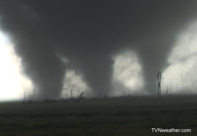 Mile-wide tornado splits into three large suction vortices near Pipestone, Manitoba on June 23, 2007.