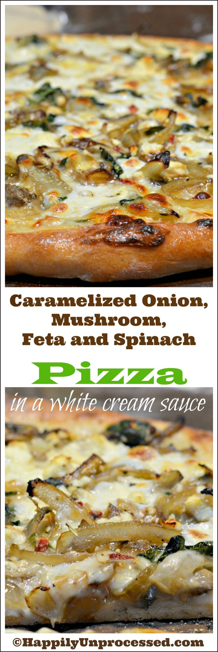 Onions sautéed until brown and caramelized, mushrooms and wilted spinach top this white garlic béchamel sauce with feta and mozzarella cheeses. Perfect!