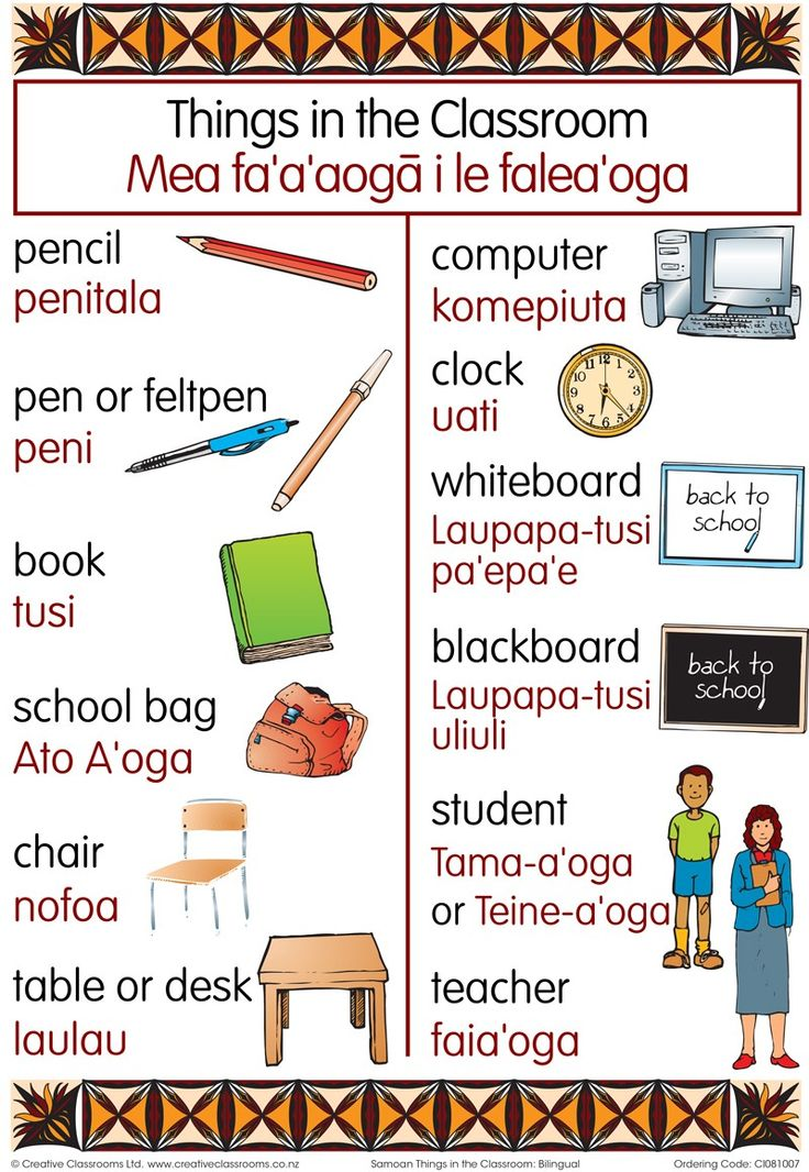 Things in the Classroom Chart | Pasifika Resources
